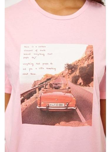 Setre Mor Kısa Kol Baskılı T-Shirt Pembe